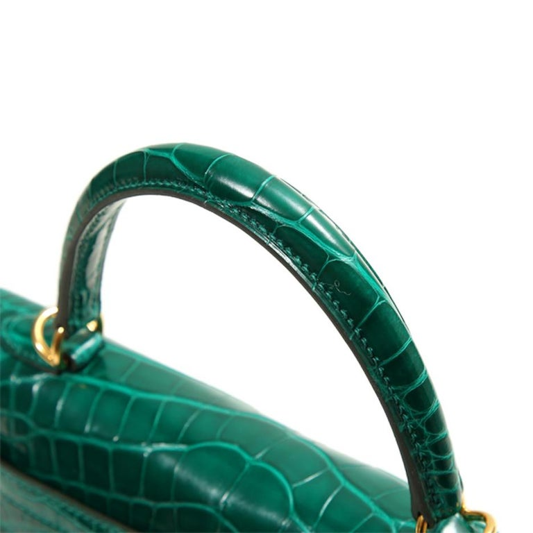 Black Hermes NEW Kelly 25 Green Crocodile Leather Gold Top Handle Tote Shoulder Bag
