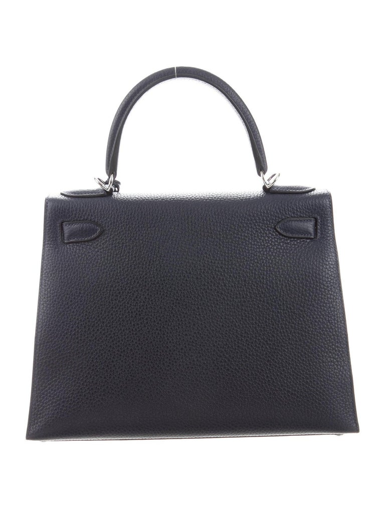Hermes NEW Kelly 28 Blue Orange Lettres Palladium Top Handle Tote Shoulder Bag in Box   Leather Palladium-plated hardware Leather lining Turn-lock closure Made in France Date code present (2018) Top Handle drop 3.5
