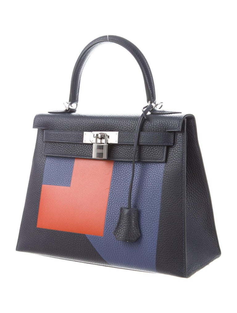 Hermes NEW Kelly 28 Blue Orange Palladium Top Handle Tote Shoulder Bag in Box In New Condition For Sale In Chicago, IL