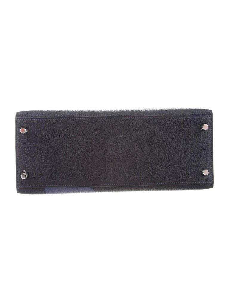 Women's Hermes NEW Kelly 28 Blue Orange Palladium Top Handle Tote Shoulder Bag in Box For Sale