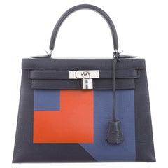 Hermes NEW Kelly 28 Blue Orange Palladium Top Handle Tote Shoulder Bag in Box