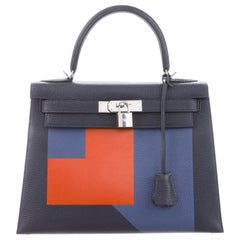 Hermes NEW Kelly 28 Blue Orange Palladium Top Handle Tote Shoulder Bag in Box