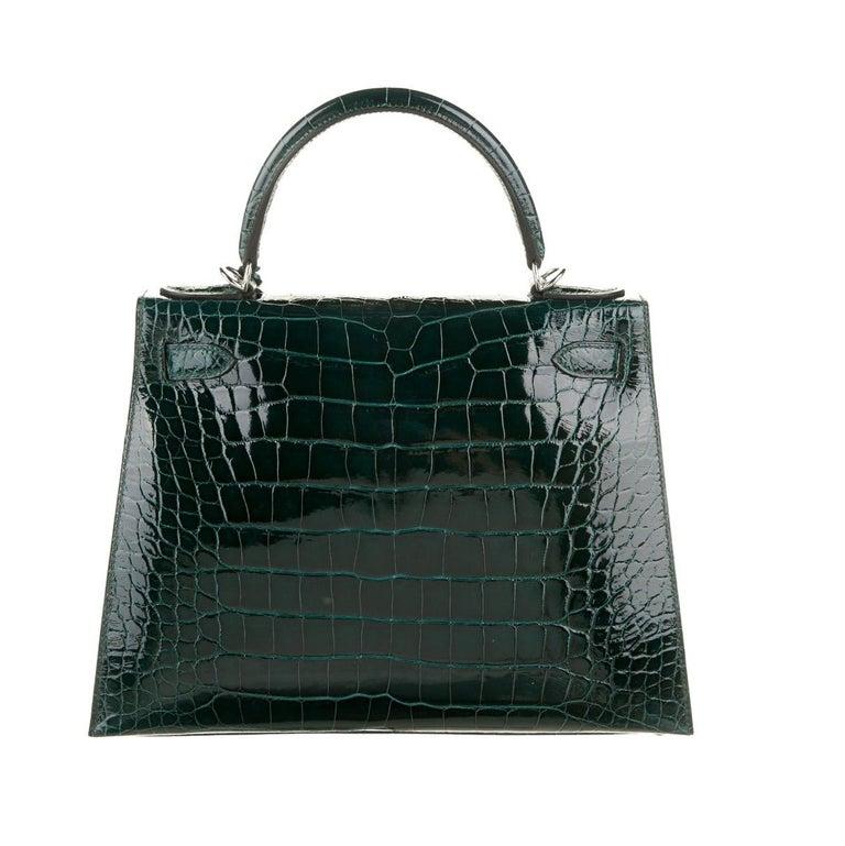 Black Hermes NEW Kelly 28 Green Alligator Exotic Top Handle Shoulder Bag in Box