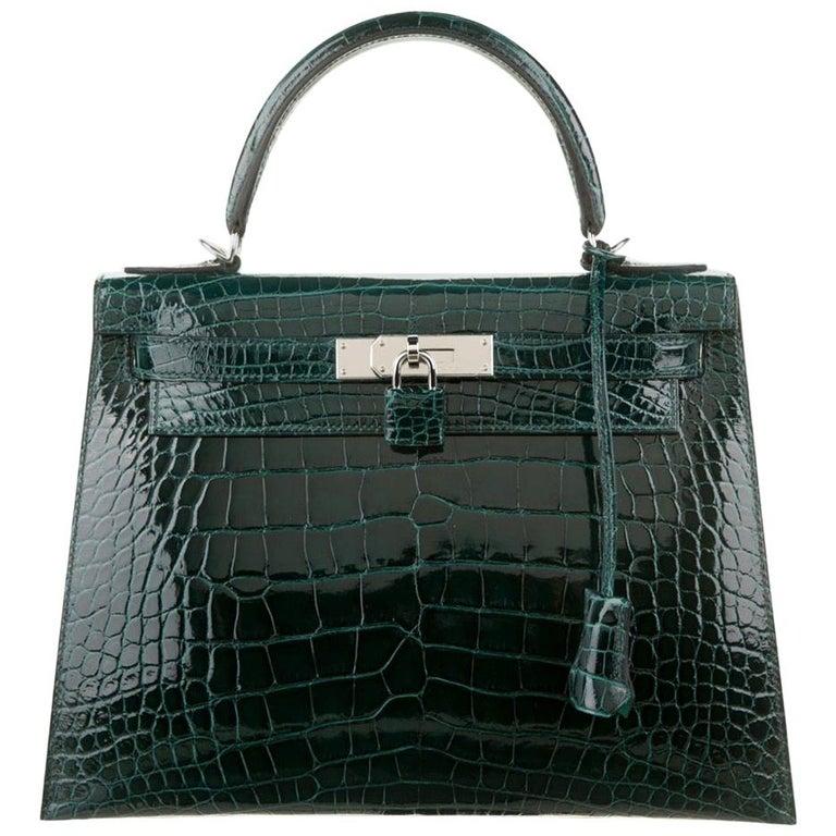 Hermes NEW Kelly 28 Green Alligator Exotic Top Handle Shoulder Bag in Box