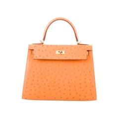 Hermes NEW Kelly 28 Orange Ostrich Exotic Top Handle Tote Shoulder Bag in Box