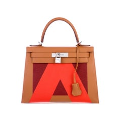 Hermes NEW Kelly 28 Orange Palladium Top Handle Tote Shoulder Bag in Box