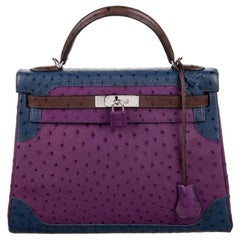 Hermes NEW Kelly 32 Ostrich Exotic Purple Blue Brown Top Handle Satchel Bag