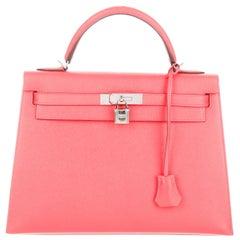 Hermes NEW Kelly 32 PinkRose Leather Top Handle Satchel Shoulder Tote Bag in Box