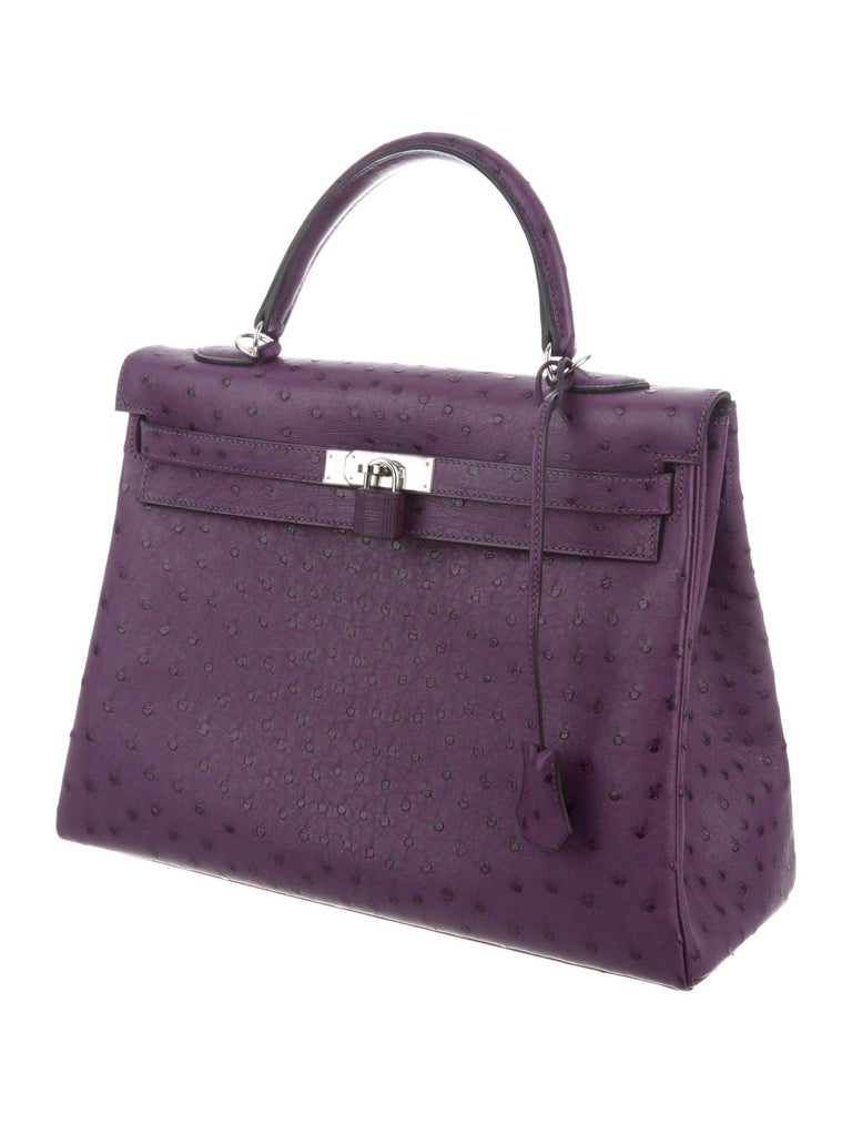 Black Hermes NEW Kelly 35 Purple Ostrich Exotic Leather Top Handle Shoulder Bag in Box For Sale