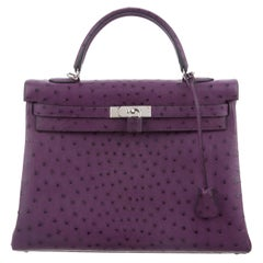 Hermes NEW Kelly 35 Purple Ostrich Exotic Leather Top Handle Shoulder Bag in Box