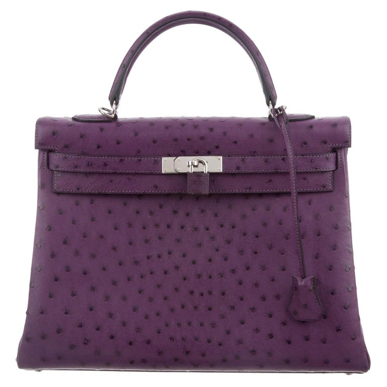 Hermes NEW Kelly 35 Purple Ostrich Exotic Leather Top Handle Shoulder Bag in Box For Sale