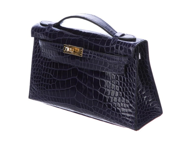 Hermes NEW Kelly Blue Alligator Exotic Gold Clutch Top Handle Satchel Bag in Box In New Condition For Sale In Chicago, IL