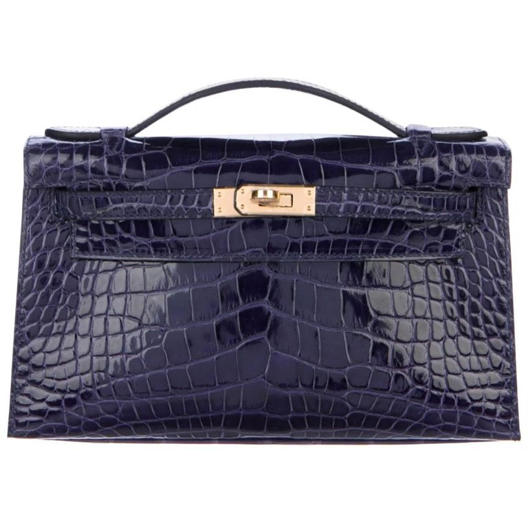 Hermes NEW Kelly Blue Alligator Exotic Gold Clutch Top Handle Satchel Bag in Box For Sale