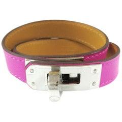 Hermes NEW Kelly Fuchsia Pink Leather Gold Men's Women's Cuff Bracelet in Box