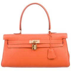 Hermes NEW Kelly Orange Leather Gold JPG Style Top Handle Satchel Tote Bag W/Box