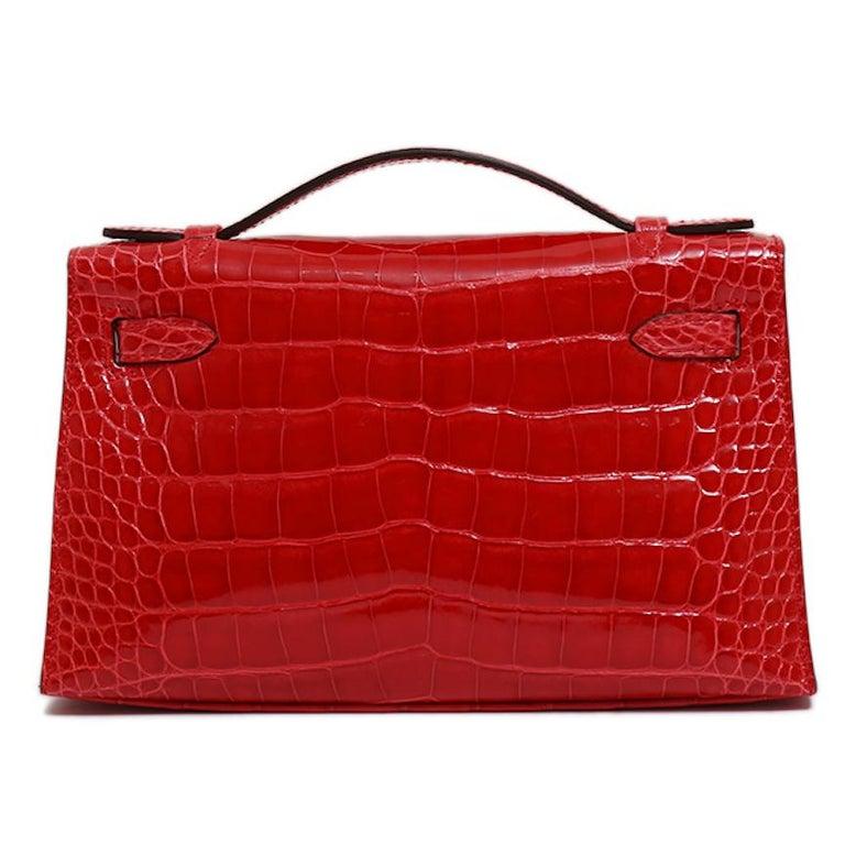 Women's Hermes NEW Kelly Red Alligator Exotic Skin Gold Clutch Top Handle Satchel Bag  For Sale