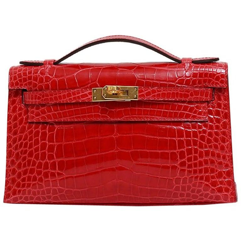 Hermes NEW Kelly Red Alligator Exotic Skin Gold Clutch Top Handle Satchel Bag  For Sale