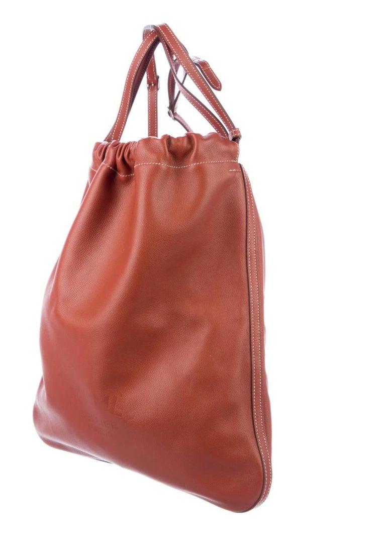 Brown Hermes NEW Leather Logo Men's Knapsack Backpack Carryall Shoulder Travel Bag For Sale