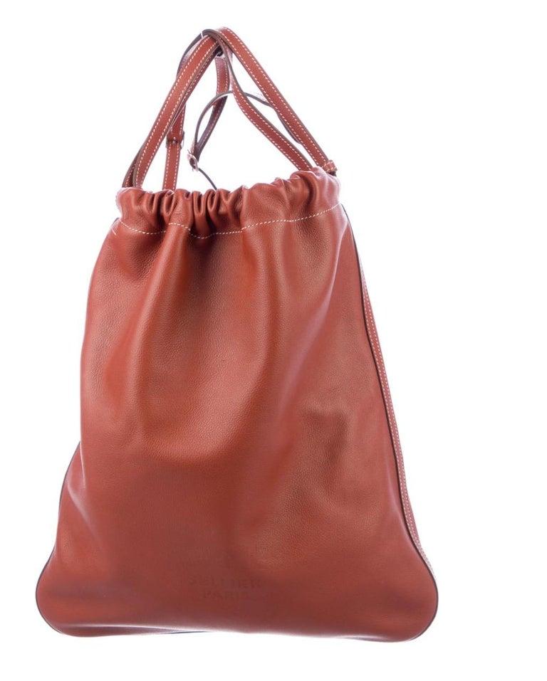Hermes NEW Leather Logo Men's Knapsack Backpack Carryall Shoulder Travel Bag In New Condition For Sale In Chicago, IL