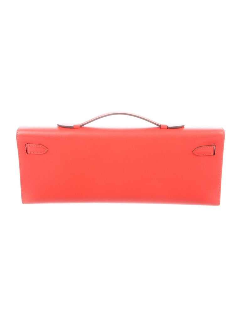Hermes NEW Leather Gold Envelope Top Handle Kelly Evening Flap Capucine Clutch Bag in Box  Leather  Palladium plated hardware Leather lining Turn-lock closure Made in France Date code present Handle drop 0.50