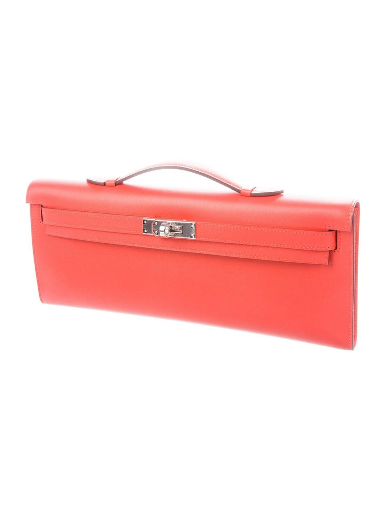 Red Hermes NEW Leather Palladium Envelope Kelly Evening Flap Clutch Bag in Box For Sale