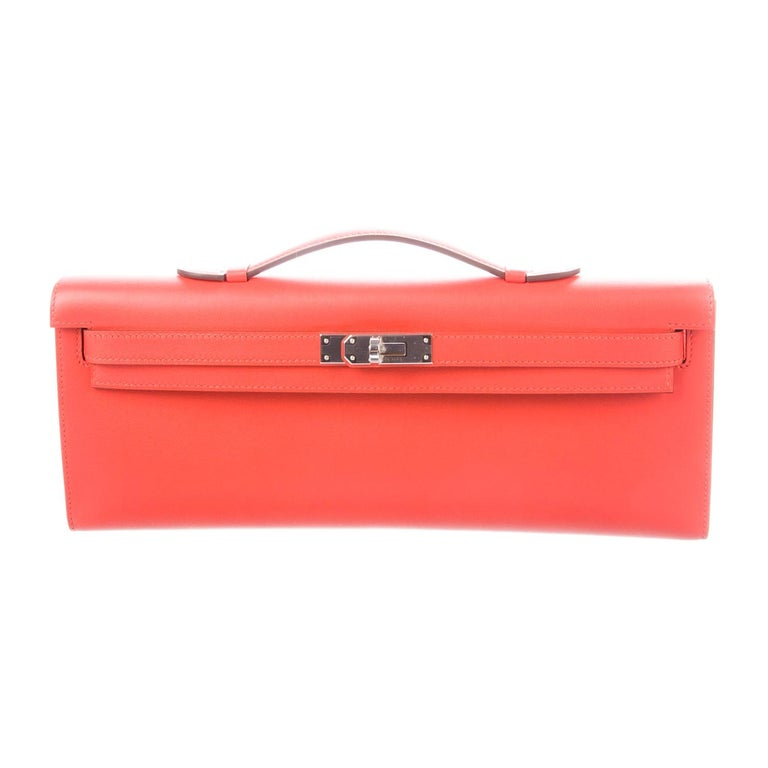 Hermes NEW Leather Palladium Envelope Kelly Evening Flap Clutch Bag in Box For Sale