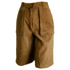 "HERMÈS ""New"" Light Brown Shorts Bermuda Suede Pants - Unworn"
