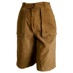 """HERMÈS """"New"""" Light Brown Shorts Bermuda Suede Pants - Unworn"""