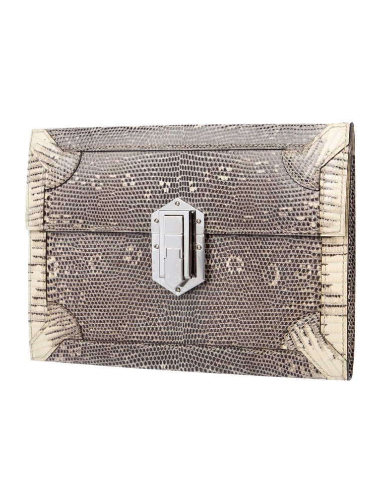 Gray Hermes NEW Lizard Exotic Leather Palladium Evening Clutch Flap Bag in Box For Sale