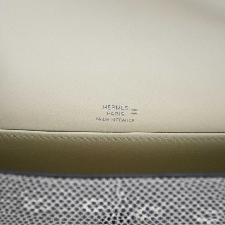 Women's Hermes NEW Lizard Exotic Leather Palladium Evening Clutch Flap Bag in Box For Sale