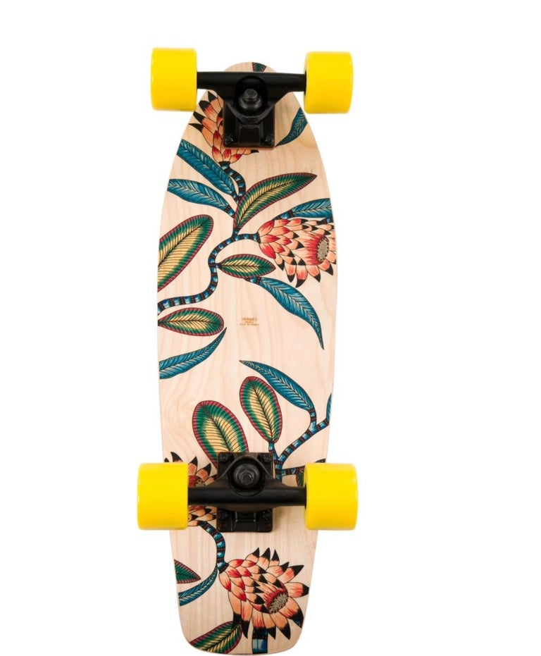 Hermes NEW Multicolor Yellow Multi Wood Savana Animal Leopard Skateboard in Box In New Condition For Sale In Chicago, IL