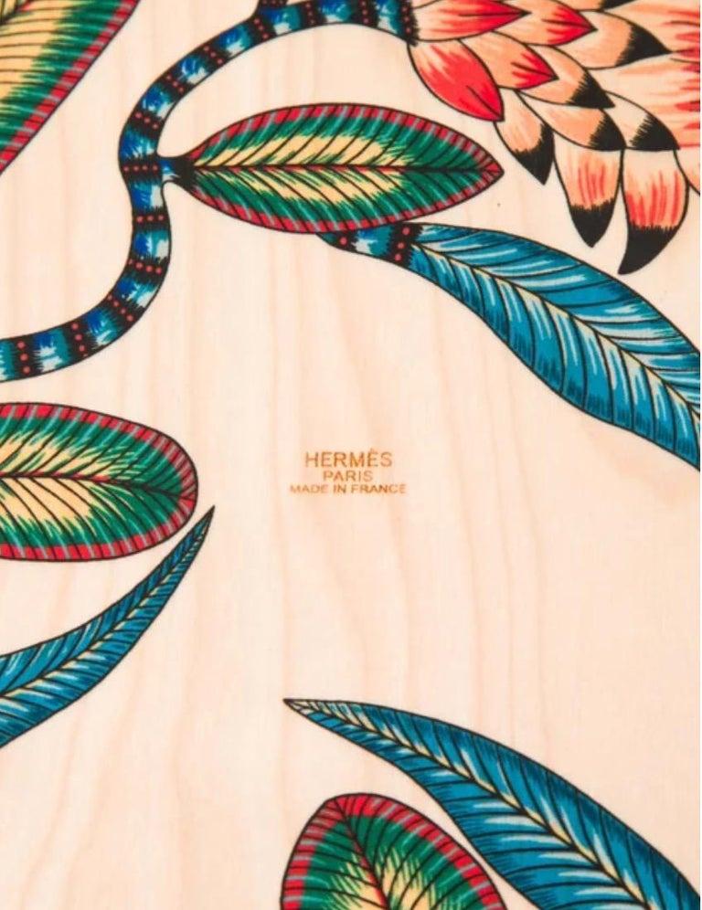 Women's or Men's Hermes NEW Multicolor Yellow Multi Wood Savana Animal Leopard Skateboard in Box For Sale