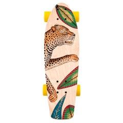 Hermes NEW Multicolor Yellow Multi Wood Savana Animal Leopard Skateboard in Box