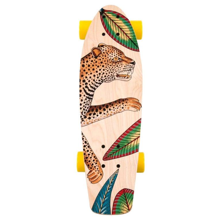 Hermes NEW Multicolor Yellow Multi Wood Savana Animal Leopard Skateboard in Box For Sale