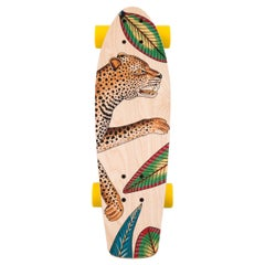 Hermes NEW Multicolor Yellow Wood Savana Animal Leopard Skateboard in Box