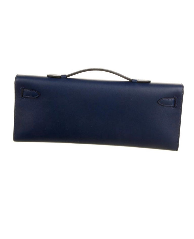 Black Hermes NEW Navy Blue Gold Kelly Evening Top Handle Clutch Bag in Box For Sale