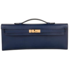 Hermes NEW Navy Blue Gold Kelly Evening Top Handle Clutch Bag in Box