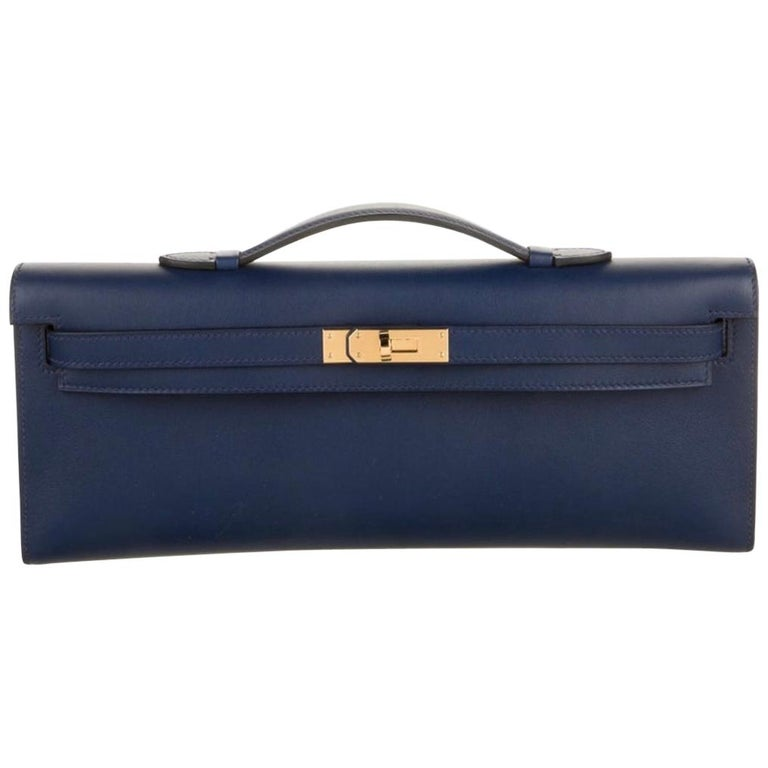 Hermes NEW Navy Blue Gold Kelly Evening Top Handle Clutch Bag in Box For Sale