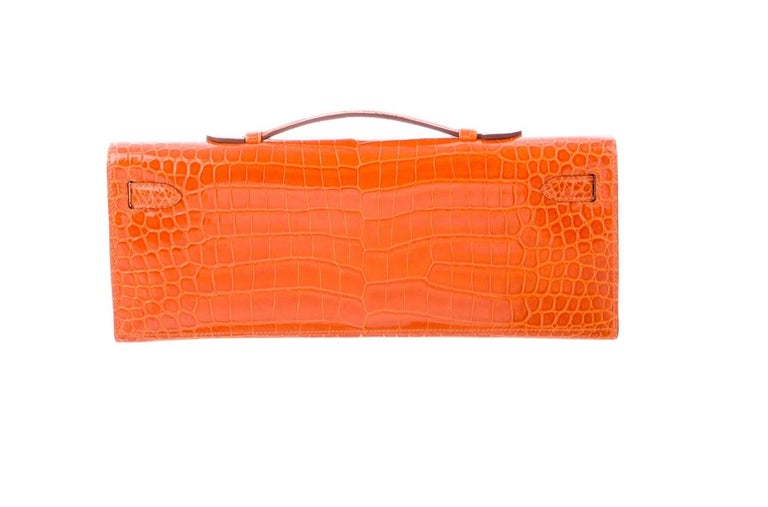 Women's Hermes NEW Orange Crocodile Exotic Kelly Evening Top Handle Clutch Bag in Box For Sale
