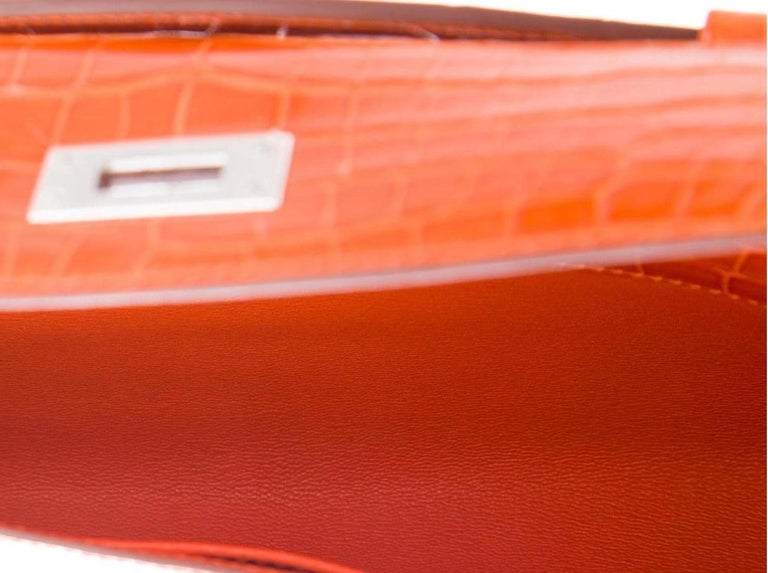 Hermes NEW Orange Crocodile Exotic Kelly Evening Top Handle Clutch Bag in Box For Sale 1