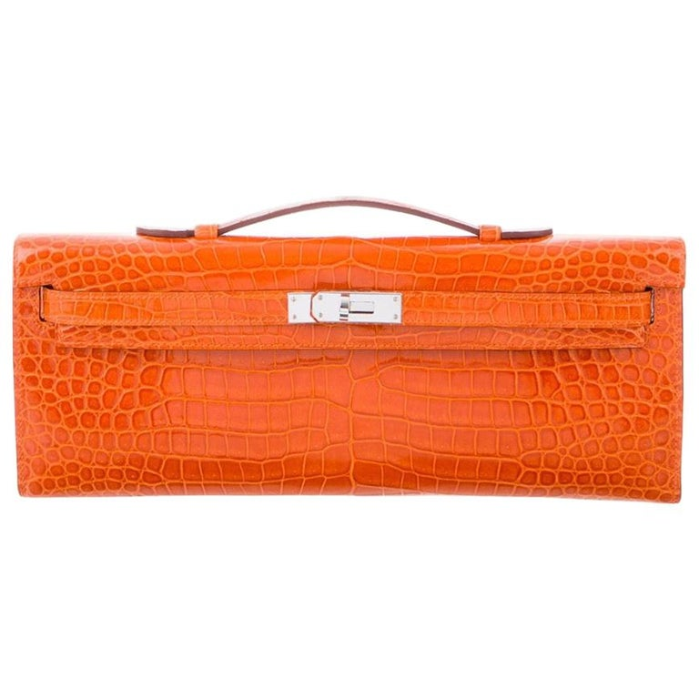 Hermes NEW Orange Crocodile Exotic Kelly Evening Top Handle Clutch Bag in Box For Sale