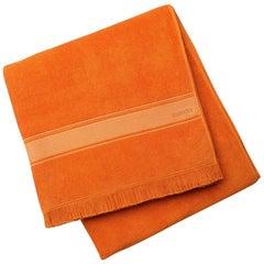 Hermes NEW Orange Fringe Large Oversize Bath Beach Travel Towel in Box