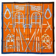 Hermes NEW Orange Harnais de Timon 90cm Silk Scarf by Florence Manlik