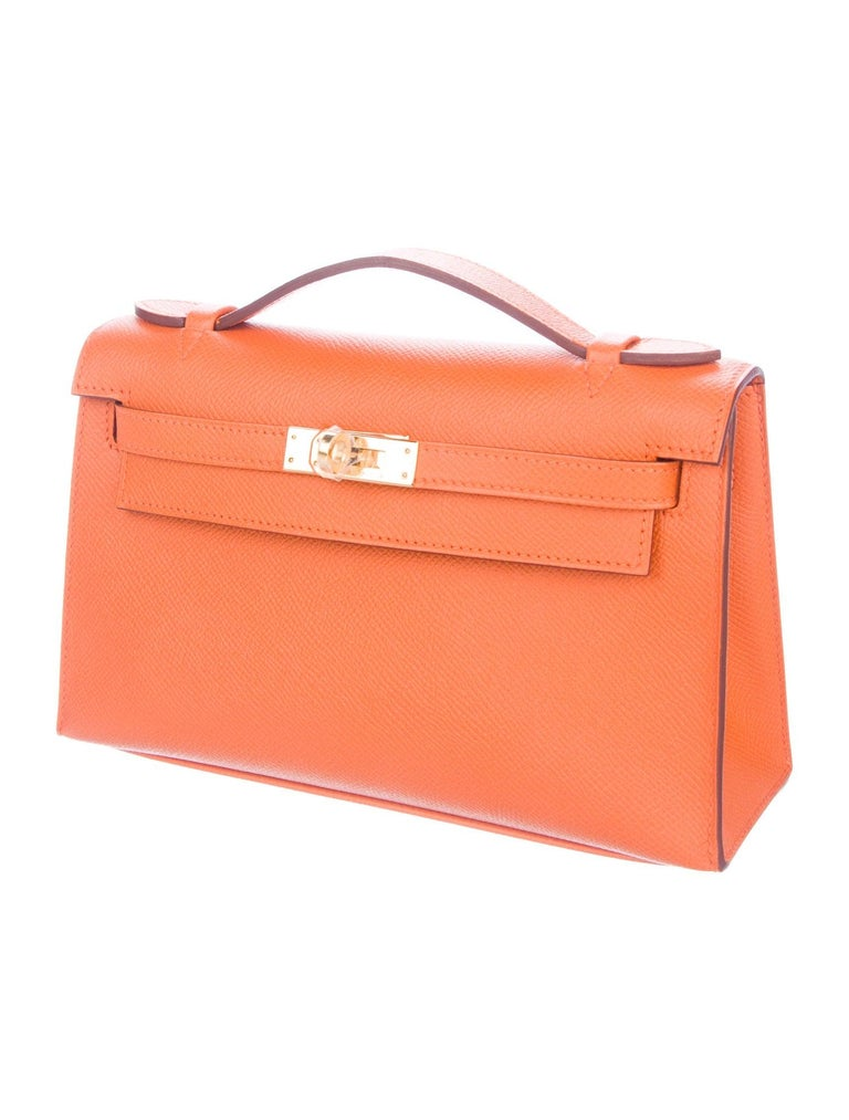Hermes NEW Orange Leather Gold Top Handle Satchel Small Tote Bag in Box In New Condition For Sale In Chicago, IL