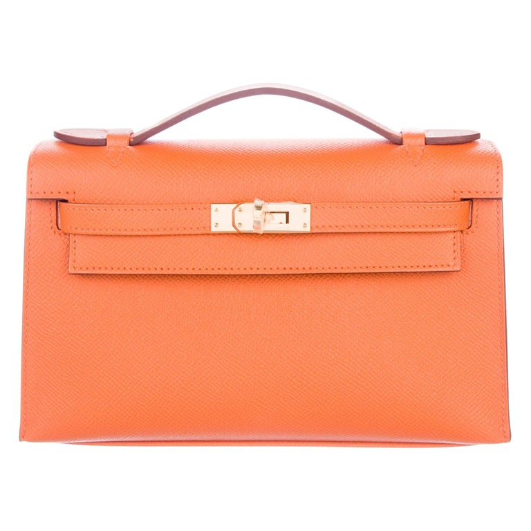 Hermes NEW Orange Leather Gold Top Handle Satchel Small Tote Bag in Box For Sale