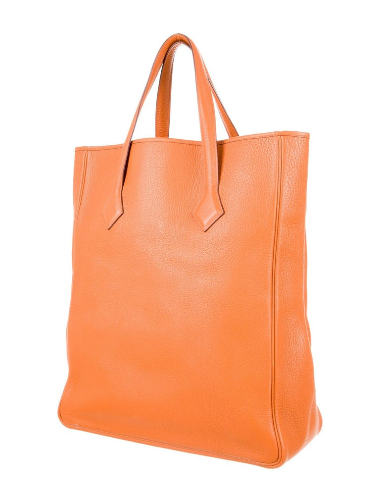 Hermes NEW Orange Leather Large Shopper Carryall Travel Top Handle Shoulder Tote Bag  Leather Palladium hardware Leather lining Made in France Handle drop 6