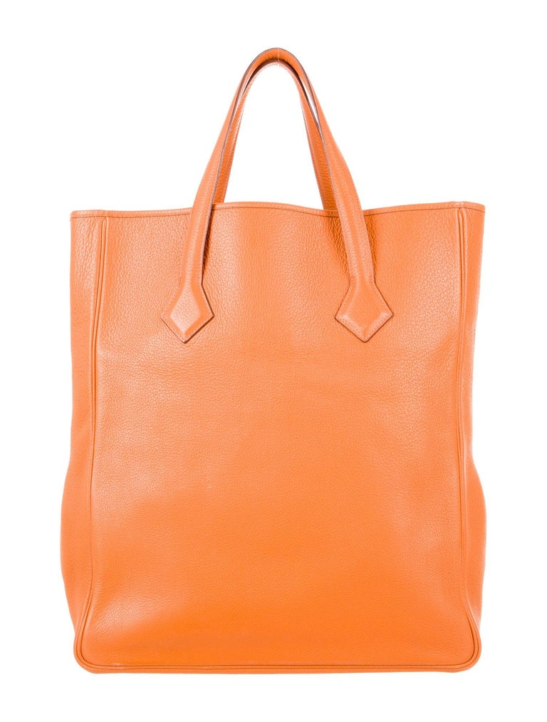 Hermes NEW Orange Leather Large Shopper Carryall Travel Top Handle Shoulder Tote In New Condition For Sale In Chicago, IL