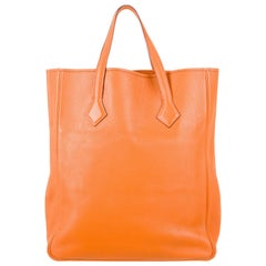 Hermes NEW Orange Leather Large Shopper Carryall Travel Top Handle Shoulder Tote
