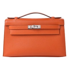 Hermes NEW Orange Leather Palladium Top Handle Satchel Small Tote Bag in Box