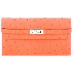 Hermes NEW Orange Ostrich Exotic Leather Palladium Evening Clutch Wallet in Box